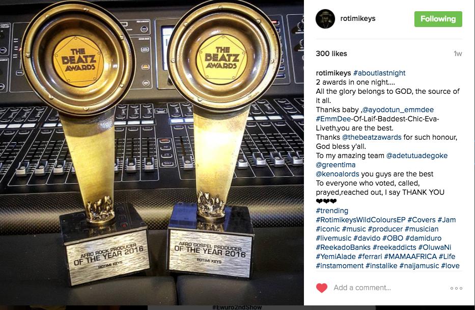 Rotimikeys Takes Home Two Beatz Awards